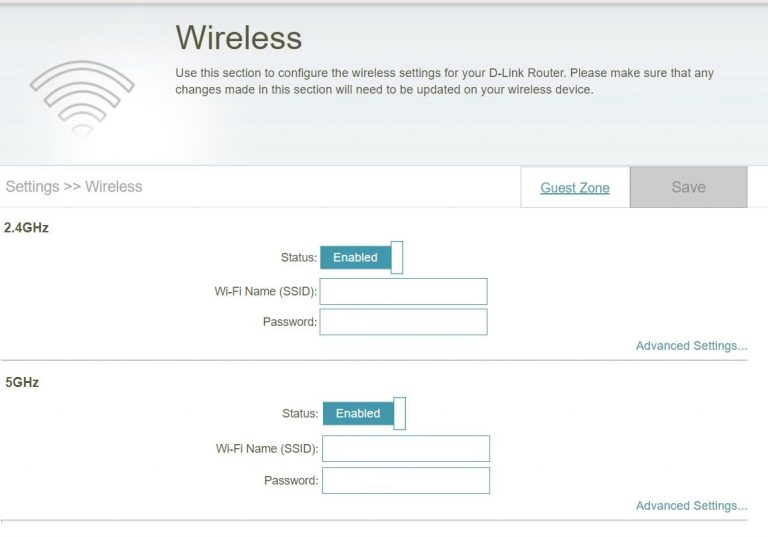 """6: Setting up your D-Link DIR-850L WiFi networks and admin password Click on the heading marked """"Settings"""" at the top of the page. Select """"Wireless"""" from the dropdown menu. Your wireless settings should be as follows: 2.4GHz - Status: Enabled - Wi-Fi Name (SSID): The network name that you noted earlier. - Password: The WiFi password that you noted earlier. 5GHz - Status: Enabled - Wi-Fi Name (SSID): The network name that you noted earlier. - Password: The WiFi password that you noted earlier. Click on the 'Save' button at the top of the page. Click on the 'Management' heading at the top of the page and select 'System Admin' from the drop-down menu. Type the admin password that you used previously and click save Your upgrade is now complete! We apologise for the inconvenience this has caused. If you have any questions, concerns or simply need a helping hand, please email support@skymesh.com.au or call 1300 759 637 to speak with a team member directly. If your service requires PPPoE, please follow the specific instructions below instead. PPPoE set up guide"""